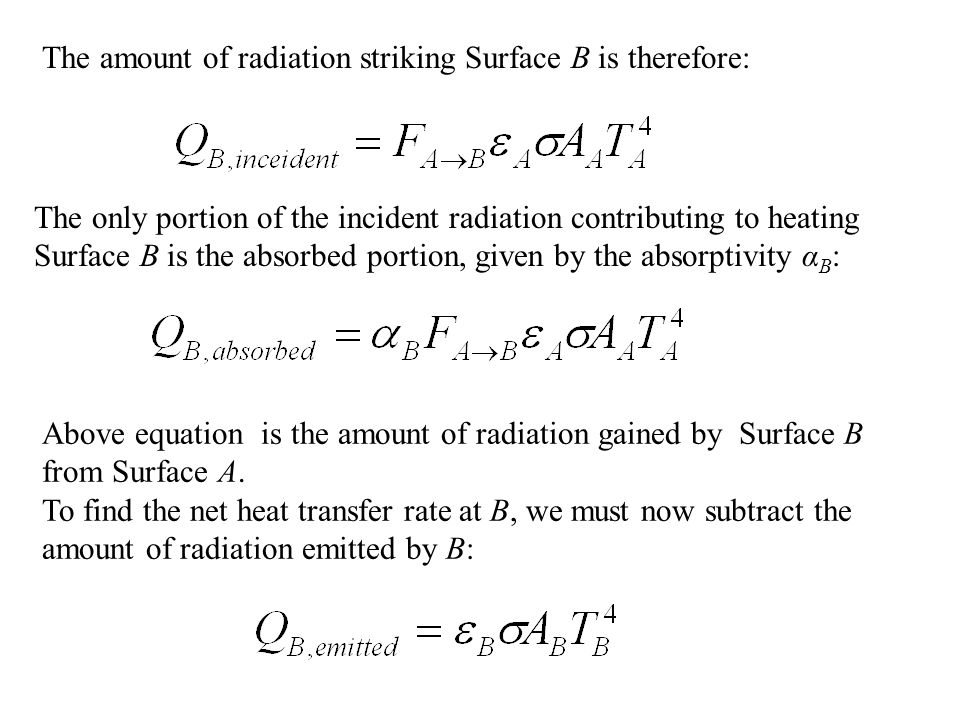 The amount of radiation striking Surface B is therefore: