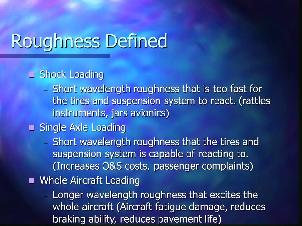 Roughness Defined Shock Loading