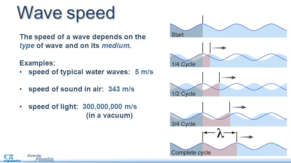 Wave speed The speed of a wave depends on the type of wave and on its medium. Examples: