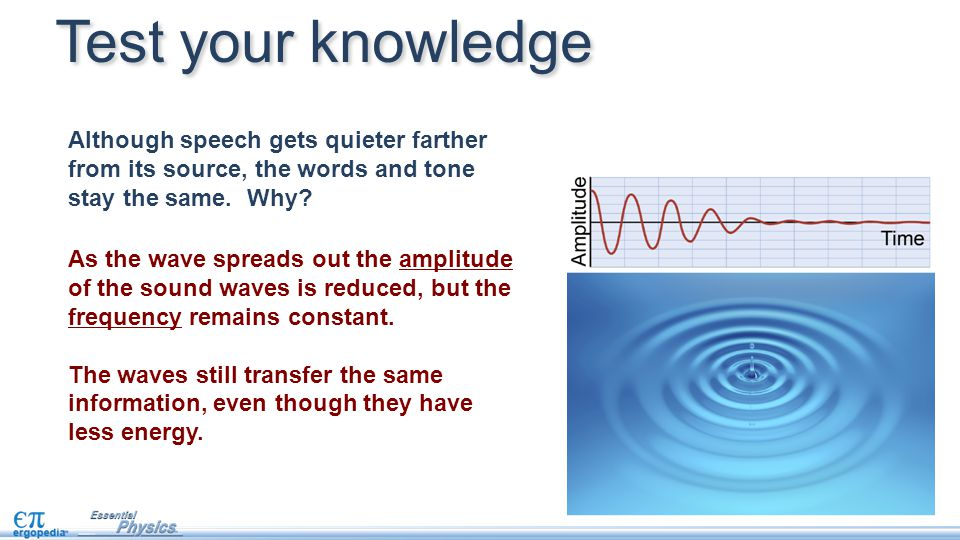 Test your knowledge Although speech gets quieter farther from its source, the words and tone stay the same. Why