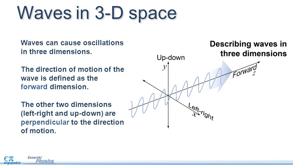 Waves in 3-D space Waves can cause oscillations in three dimensions.