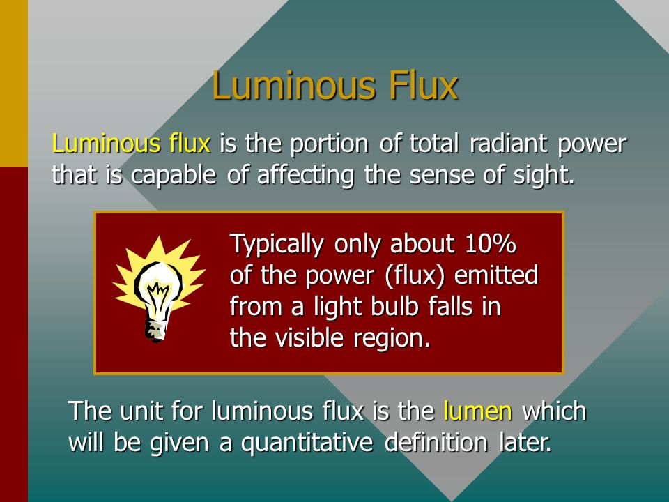 Luminous Flux Luminous flux is the portion of total radiant power that is capable of affecting the sense of sight.