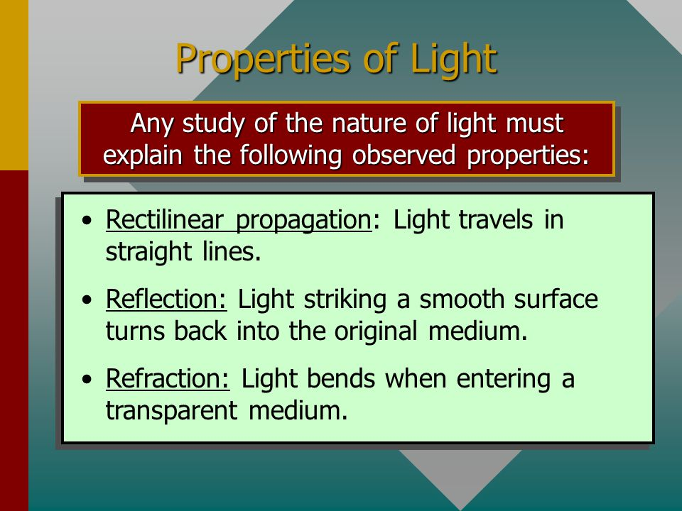 Properties of Light Any study of the nature of light must explain the following observed properties: