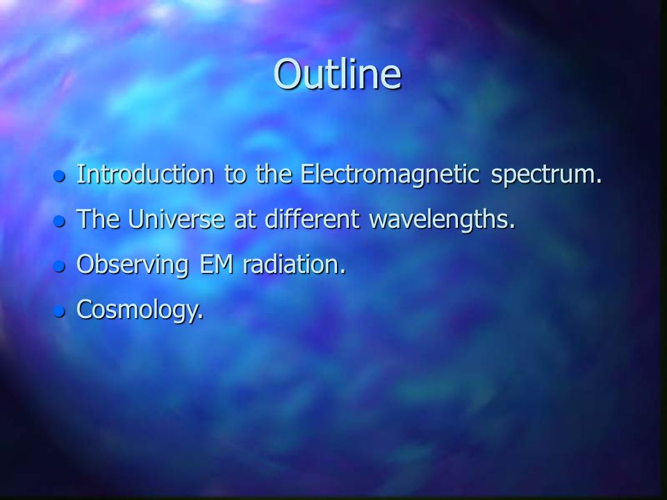 Outline Introduction to the Electromagnetic spectrum.