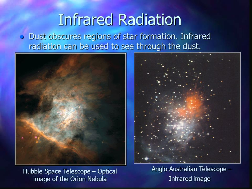 Infrared Radiation Dust obscures regions of star formation. Infrared radiation can be used to see through the dust.