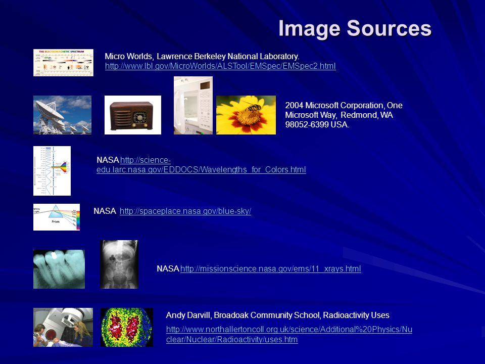Image Sources Micro Worlds, Lawrence Berkeley National Laboratory. http://www.lbl.gov/MicroWorlds/ALSTool/EMSpec/EMSpec2.html.