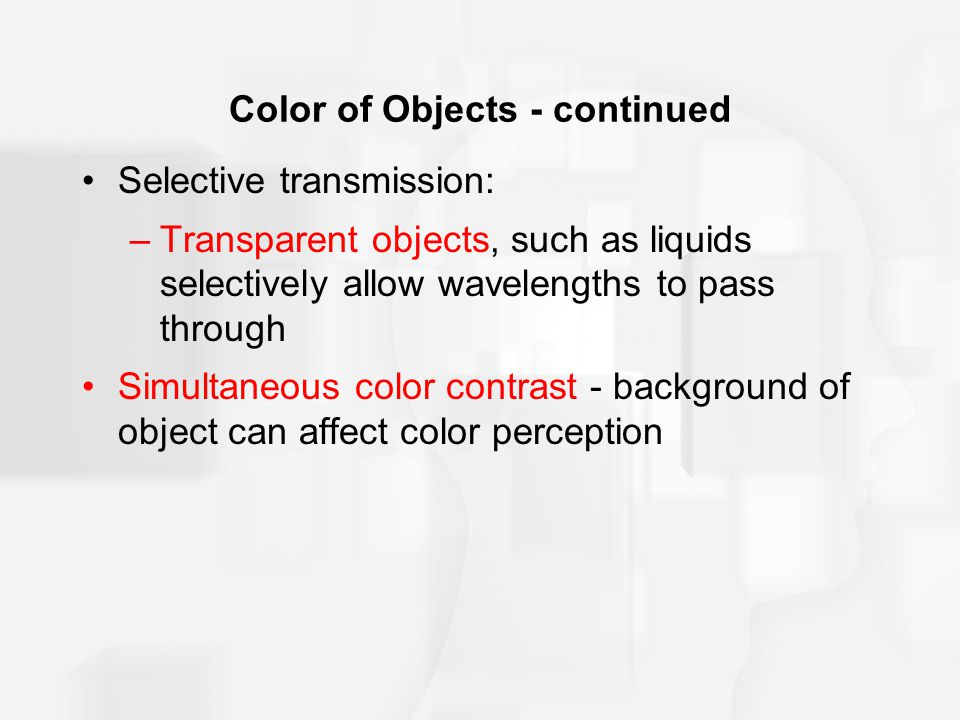 Color of Objects - continued