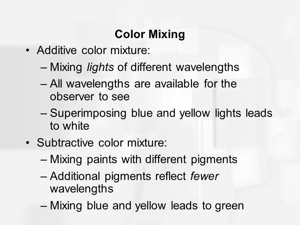 Additive color mixture: Mixing lights of different wavelengths