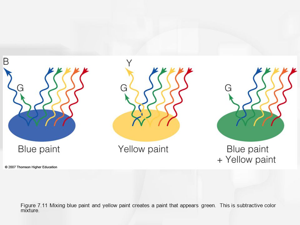 Figure 7.11 Mixing blue paint and yellow paint creates a paint that appears green.