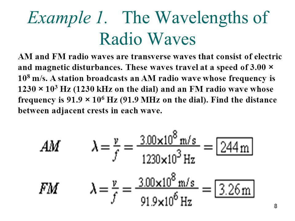 Example 1. The Wavelengths of Radio Waves