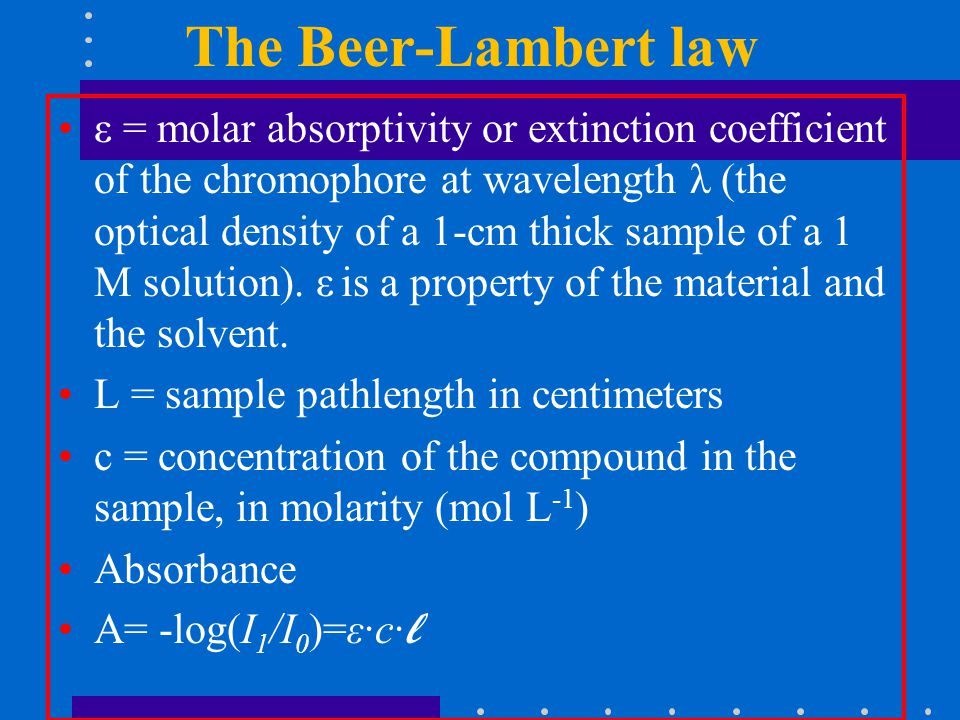 The Beer-Lambert law