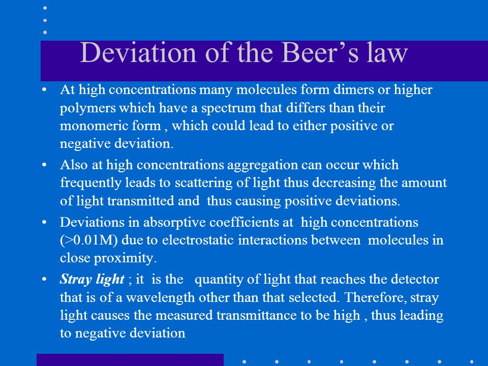 Deviation of the Beer's law