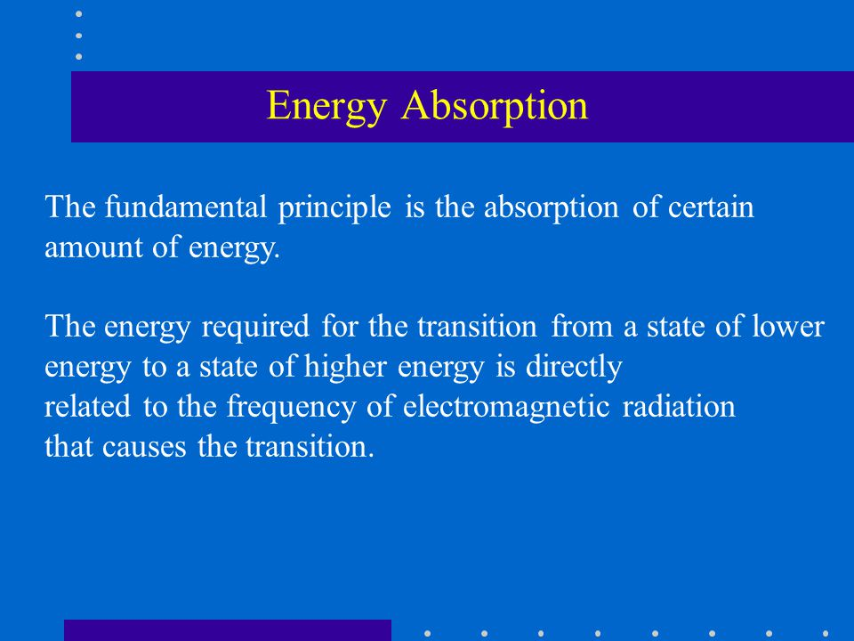 Energy Absorption The fundamental principle is the absorption of certain amount of energy.