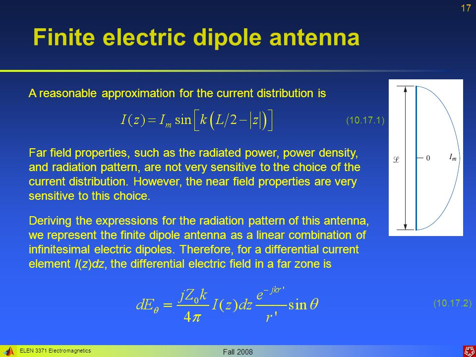 Finite electric dipole antenna