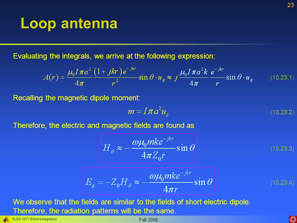Loop antenna Evaluating the integrals, we arrive at the following expression: (10.23.1) Recalling the magnetic dipole moment: