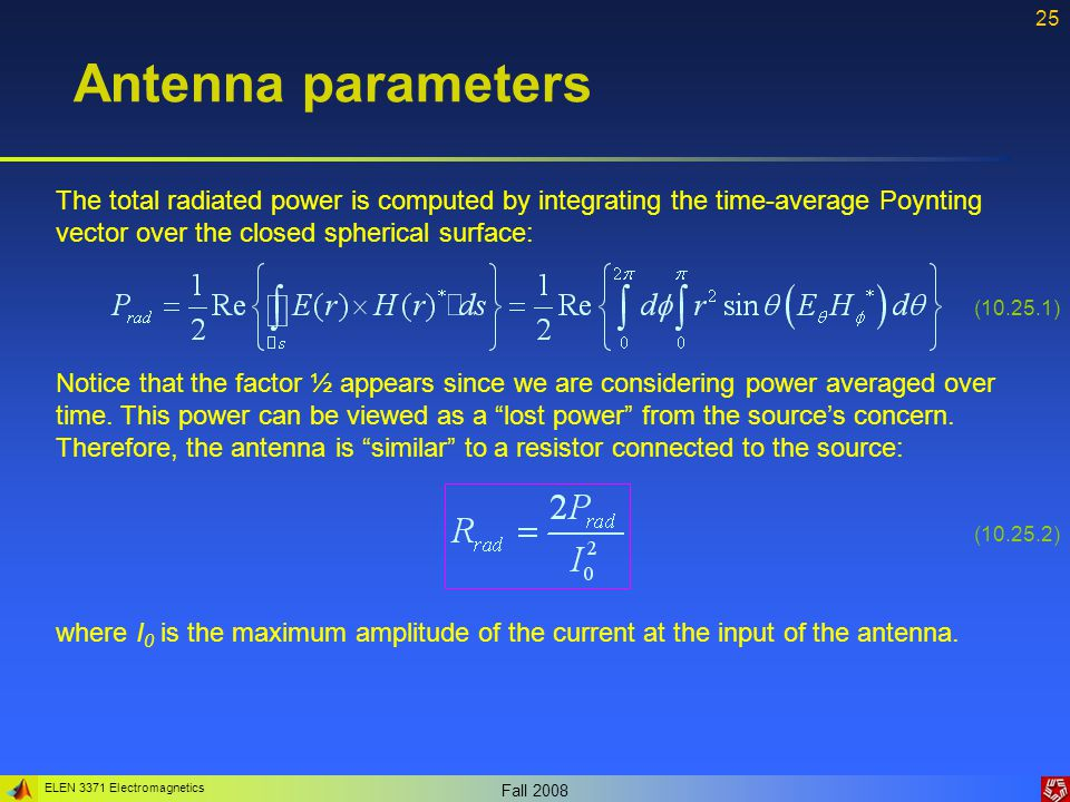 Antenna parameters The total radiated power is computed by integrating the time-average Poynting vector over the closed spherical surface: