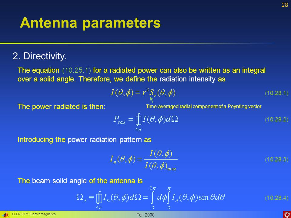 Antenna parameters 2. Directivity.