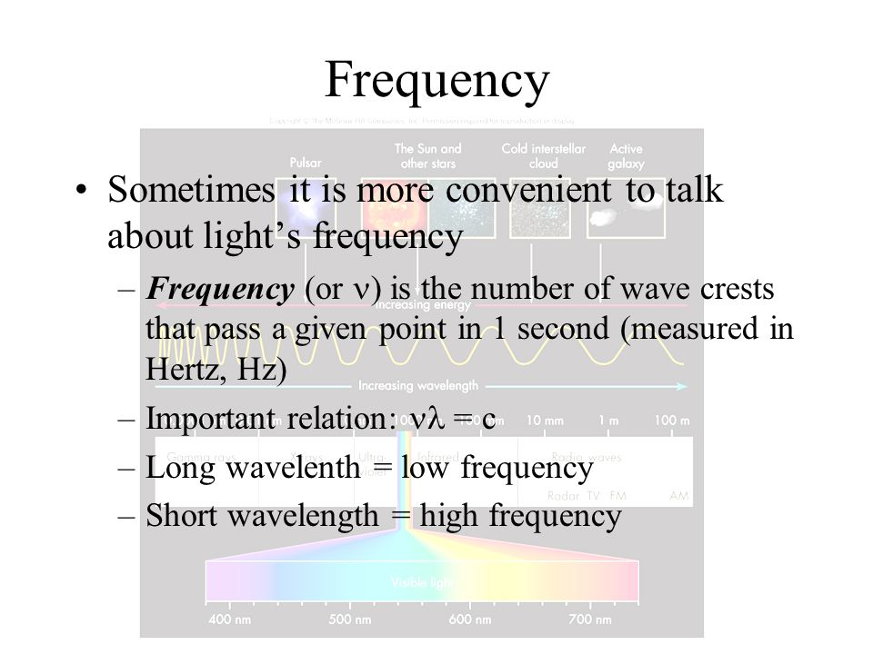 Frequency Sometimes it is more convenient to talk about light's frequency.