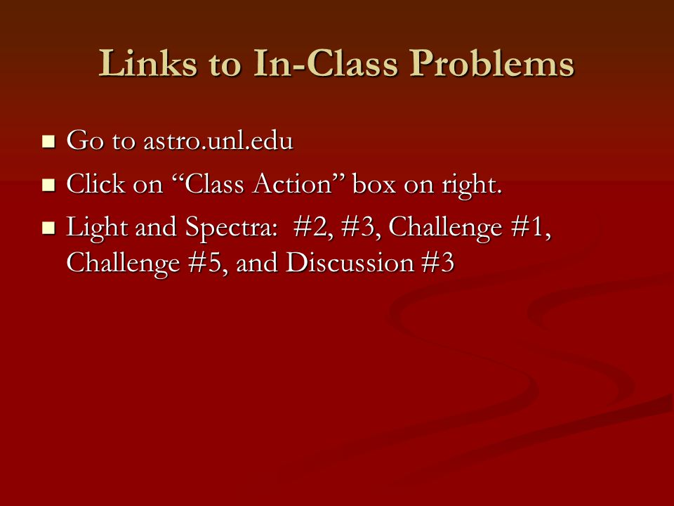 Links to In-Class Problems