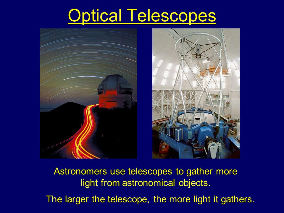 The larger the telescope, the more light it gathers.