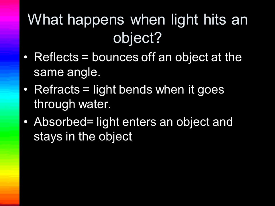 What happens when light hits an object
