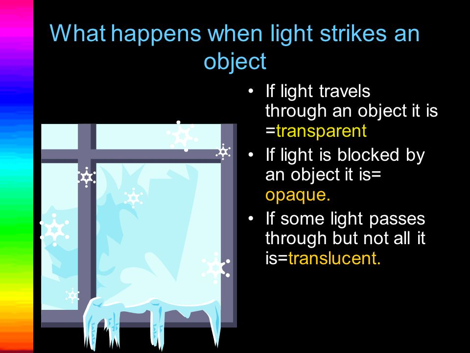 What happens when light strikes an object