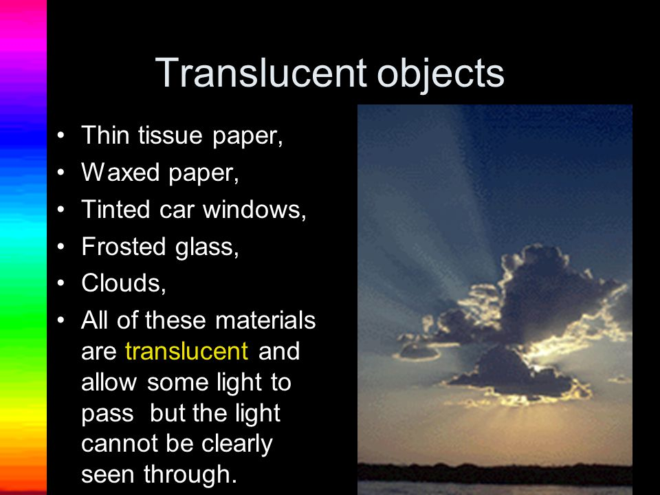Translucent objects Thin tissue paper, Waxed paper,