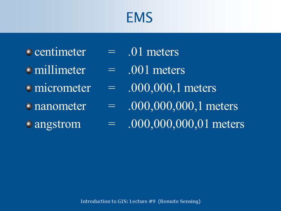 EMS centimeter = .01 meters millimeter = .001 meters