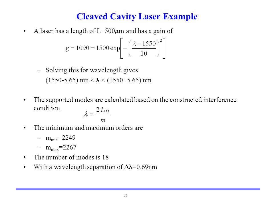 Cleaved Cavity Laser Example