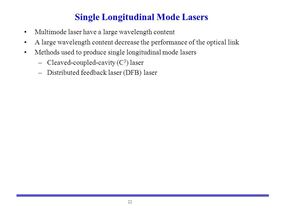 Single Longitudinal Mode Lasers