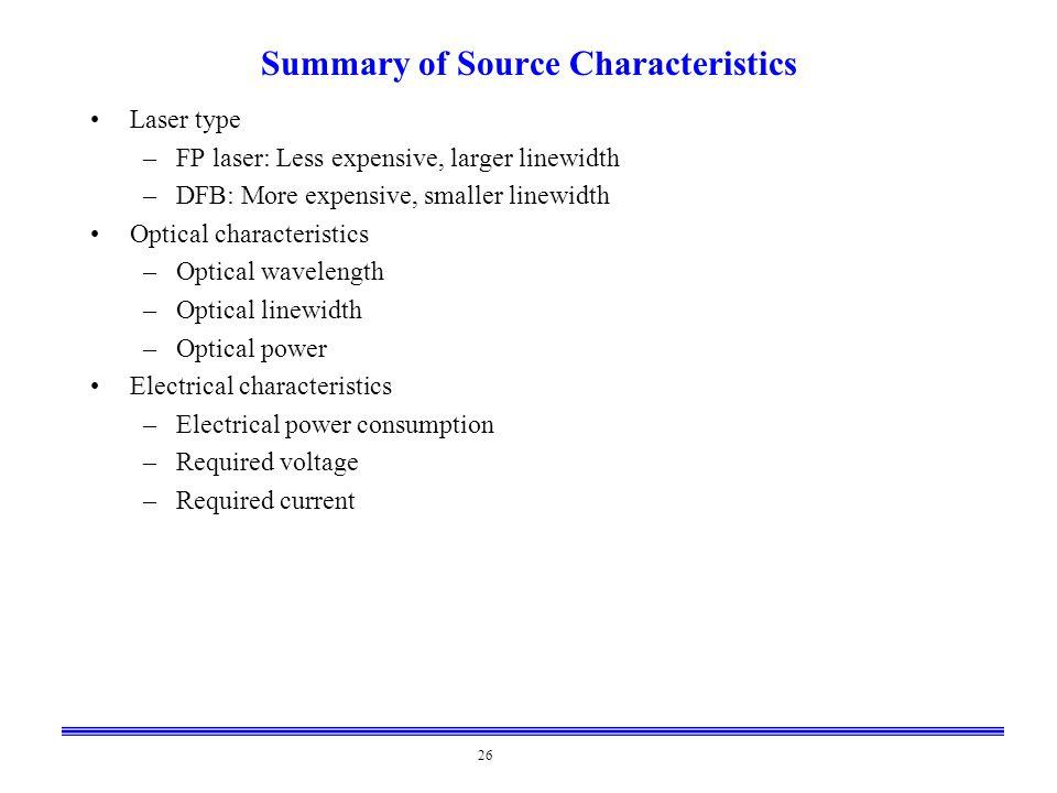Summary of Source Characteristics