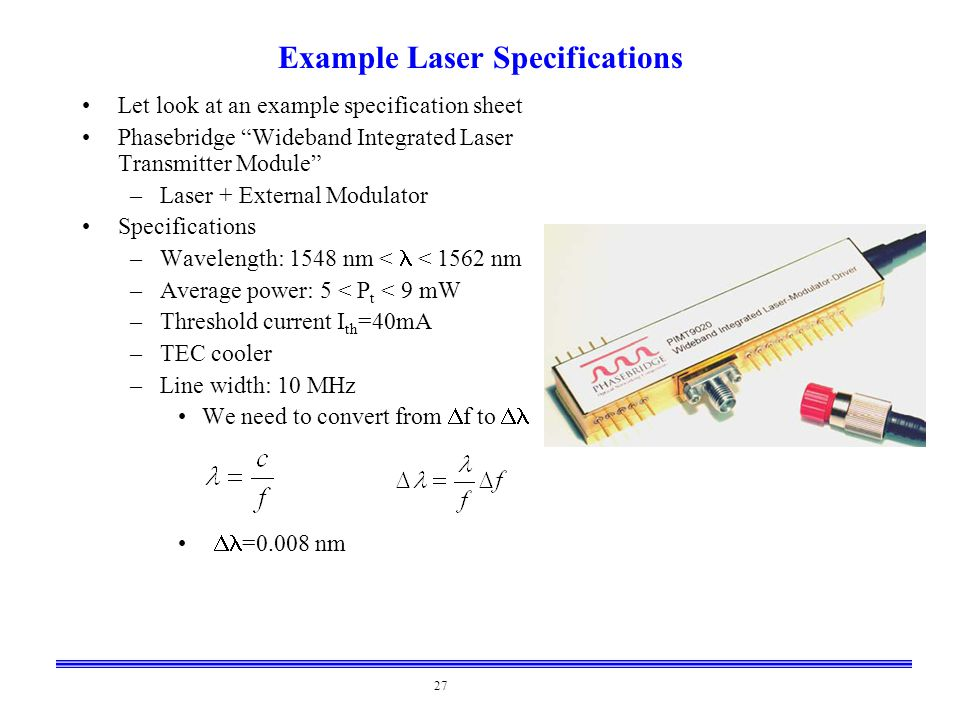 Example Laser Specifications