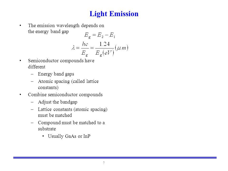 Light Emission The emission wavelength depends on the energy band gap