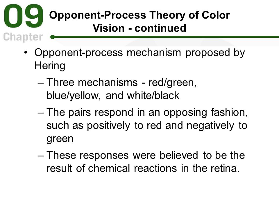 Opponent-Process Theory of Color Vision - continued