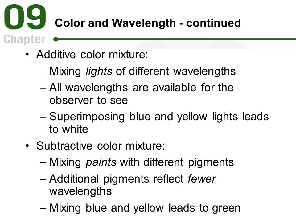 Color and Wavelength - continued