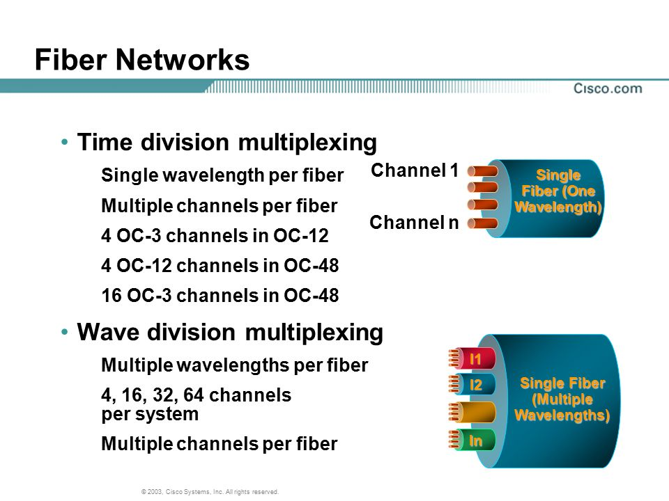 Single Fiber (One Wavelength) (Multiple Wavelengths)