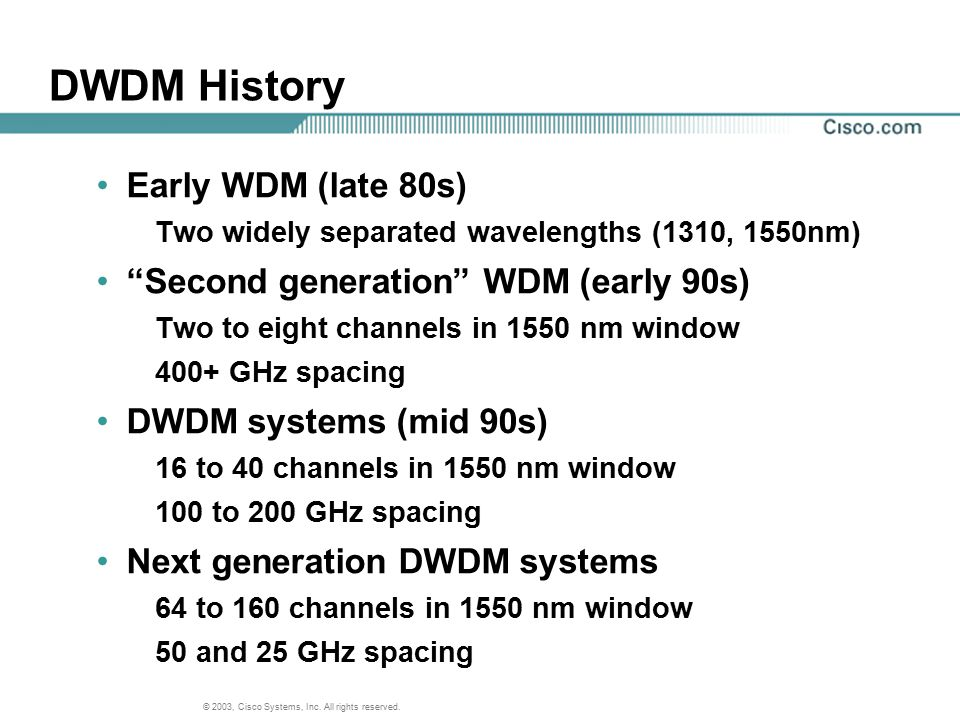 DWDM History Early WDM (late 80s) Second generation WDM (early 90s)