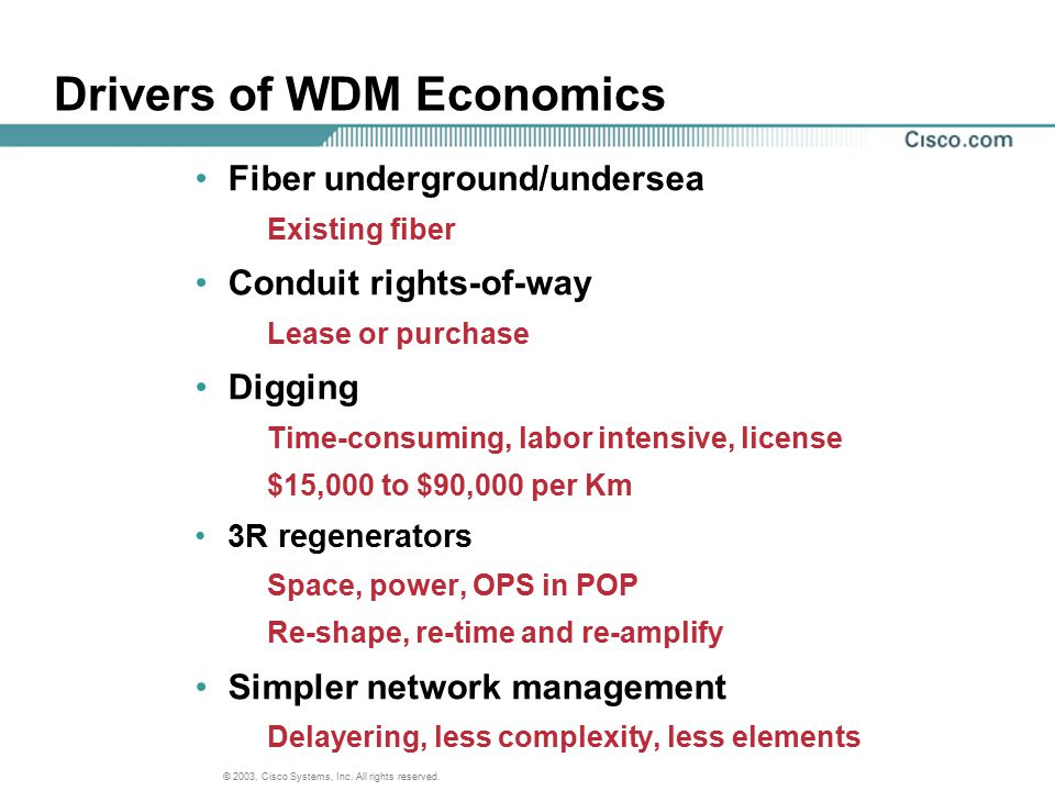 Drivers of WDM Economics