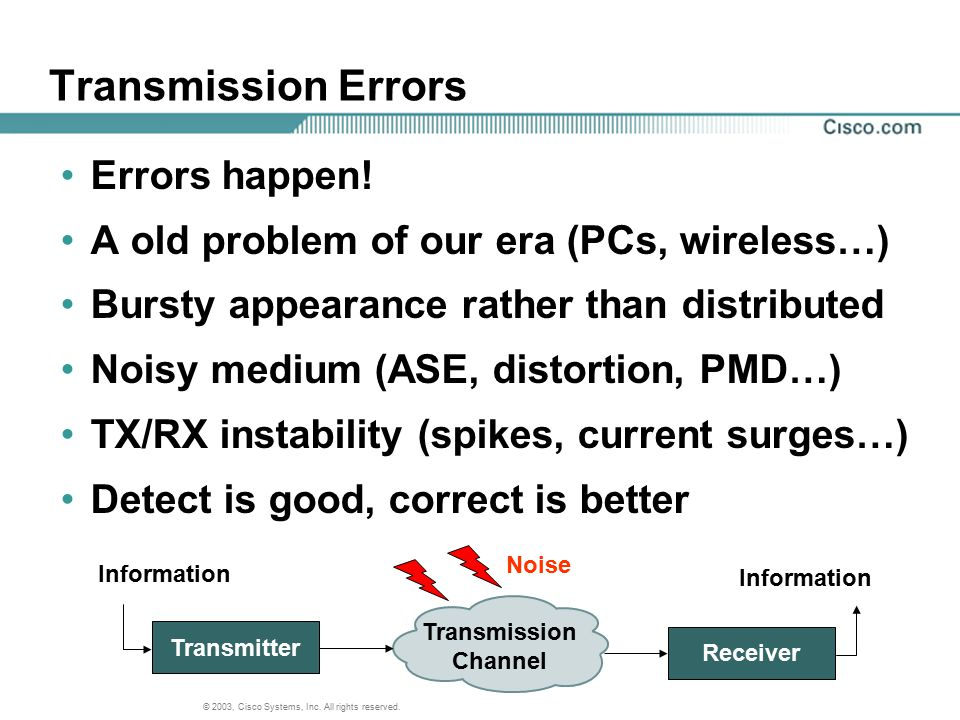 Transmission Errors Errors happen!