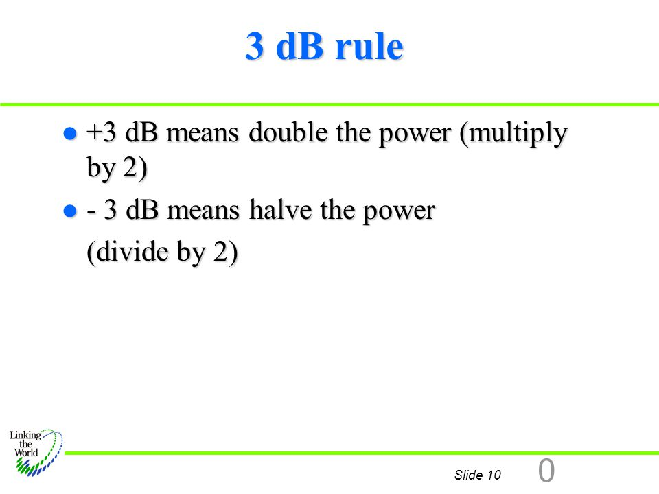 3 dB rule +3 dB means double the power (multiply by 2)
