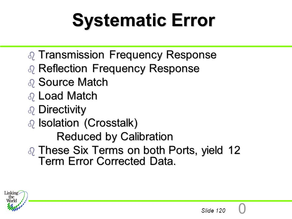 Systematic Error Transmission Frequency Response