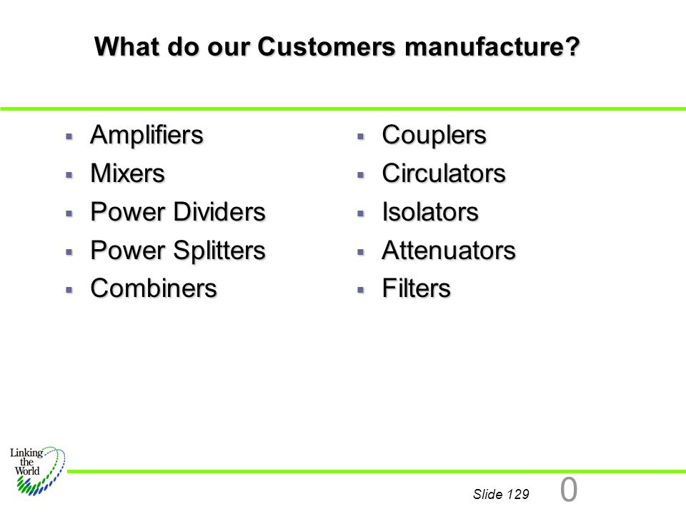 What do our Customers manufacture