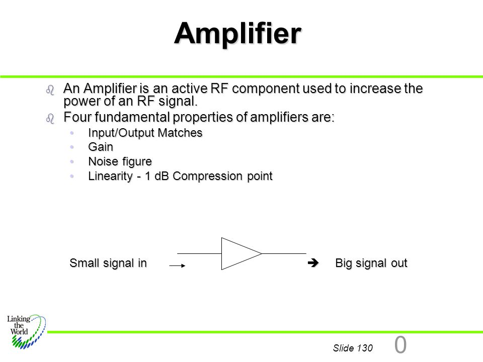 Amplifier An Amplifier is an active RF component used to increase the power of an RF signal. Four fundamental properties of amplifiers are: