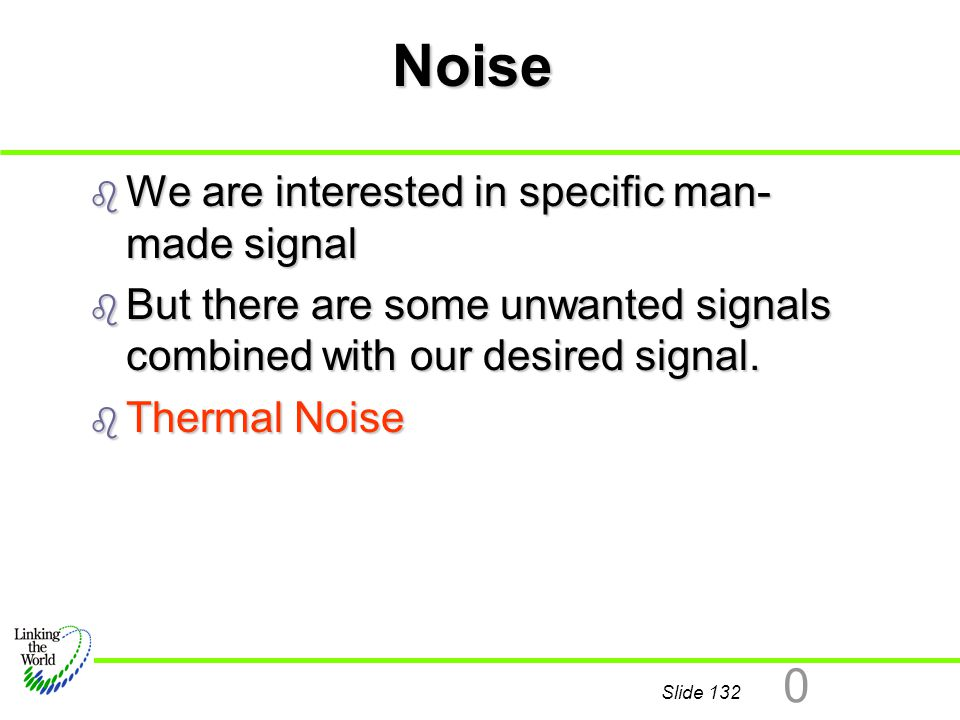Noise We are interested in specific man-made signal