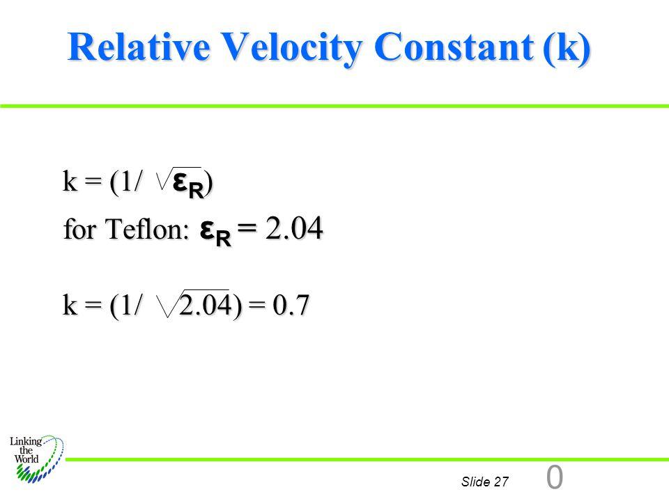 Relative Velocity Constant (k)