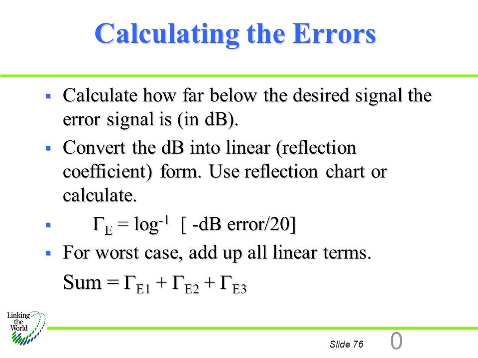 Calculating the Errors
