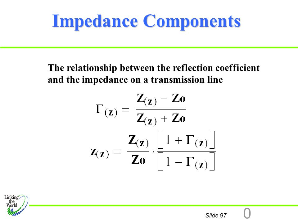 Impedance Components The relationship between the reflection coefficient and the impedance on a transmission line.