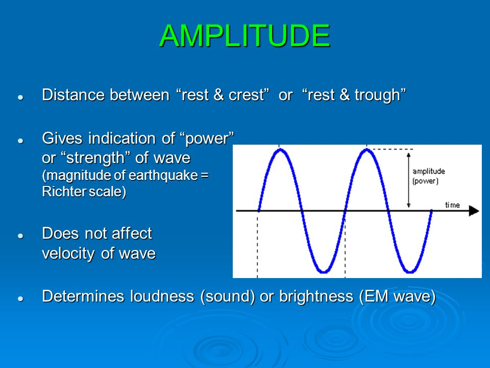 AMPLITUDE Distance between rest & crest or rest & trough