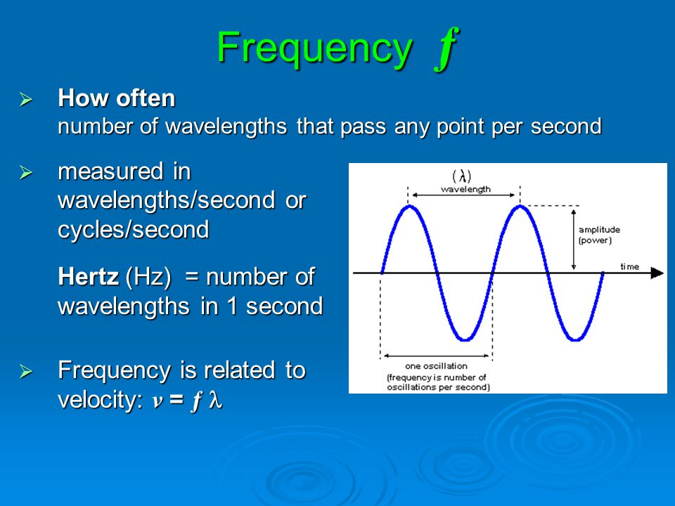 Frequency ƒ How often number of wavelengths that pass any point per second.