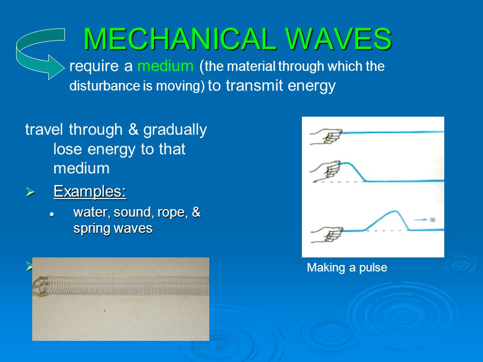 MECHANICAL WAVES require a medium (the material through which the disturbance is moving) to transmit energy.